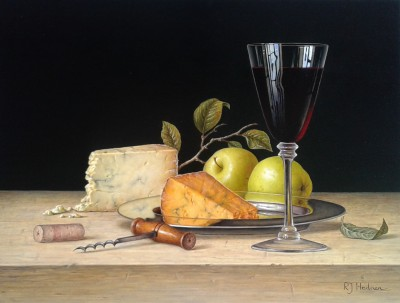 Modern Artist Roy HODRIEN - Red Wine with Cheese and Apples