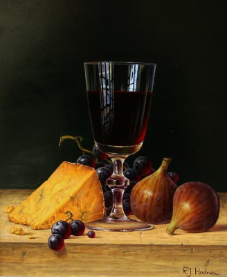Modern Artist Roy HODRIEN - Red Wine with Figs and Cheese