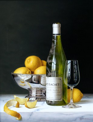 Modern Artist Roy HODRIEN - Montrachet with Lemons and Silver Bowl