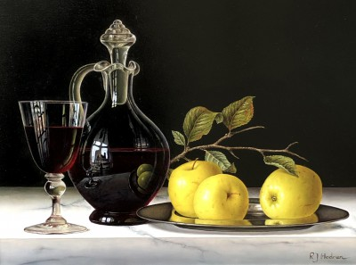 Modern Artist Roy HODRIEN - Red Wine with Apples on a Silver Plate