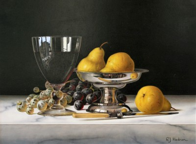 Modern Artist Roy HODRIEN - Pears in a Silver Dish with Red Wine