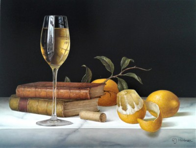 Modern Artist Roy HODRIEN - White Wine with Peeled Lemon and Books