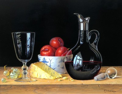 Modern Artist Roy HODRIEN - Red Wine, Plums and Stilton