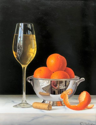 Modern Artist Roy HODRIEN - White Wine with Mandarins and Silver Bowl