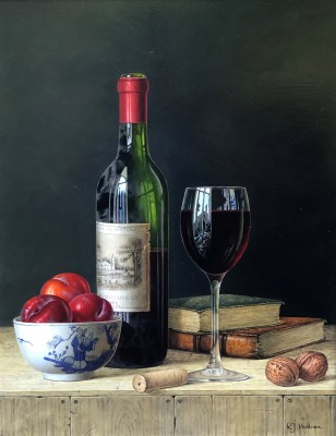 Modern Artist Roy HODRIEN - Chateau Lafite with Plums and Books