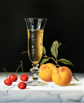 Modern Artist Roy HODRIEN - Champagne with Cherries and Peaches