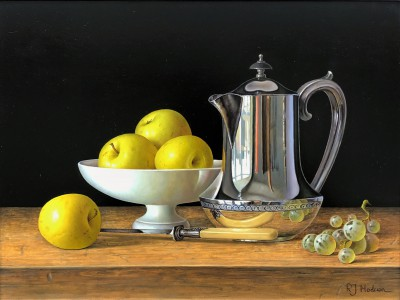 Modern Artist Roy HODRIEN - Silver Coffee Pot with Apples