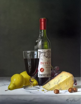 Modern Artist Roy HODRIEN - Chateau Petrus with Pears and Cheese