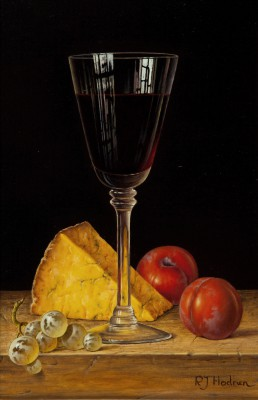Modern Artist Roy HODRIEN - Red Wine with Cheese and Plums