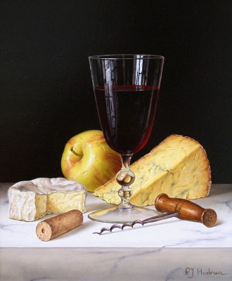 Modern Artist Roy HODRIEN - Red Wine with Cheeses and Apple