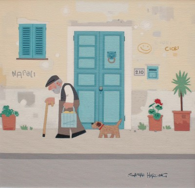 Modern Artist Sasha HARDING - The Old Man and his Dog, Naples
