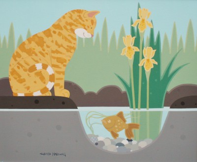 Modern Artist Sasha HARDING - The Cat and the Gold Fish