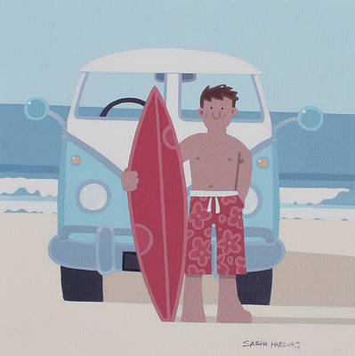 Modern Artist Sasha HARDING - Surfer and VW