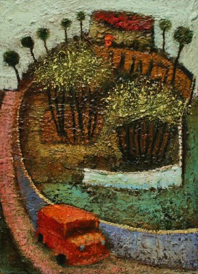Modern Artist Simon GARDEN - Red Bus Home