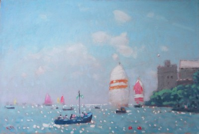 Modern Artist Stephen BROWN RBA - Blue Boat and Spinnakers, Dartmouth