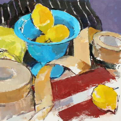 Stephen ROBSON, contemporary artist - Lemons and Blue Bowl