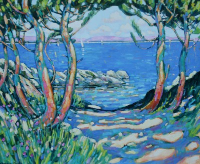 Modern Artist Terence CLARKE - Pines by the Lake, Provence
