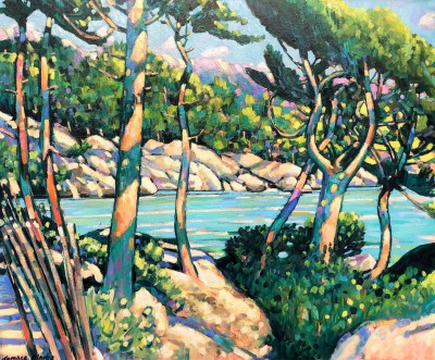 Le Calanque, Port d'Olon painting by artist Terence CLARKE