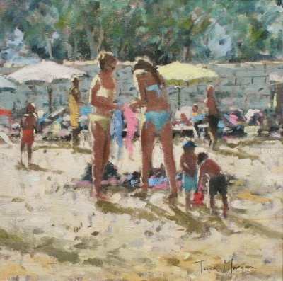 Modern Artist Tina MORGAN - Girls Buying Beach Wear