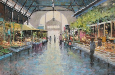Indoor Market, Soulac painting by artist Tina MORGAN