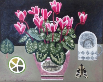 Modern Artist Vanessa BOWMAN - Cyclamen and Moth