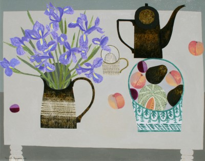 Blue Irises, Peaches and Coffee Pot painting by artist Vanessa BOWMAN