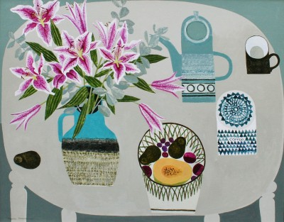 Lilies and Guava painting by artist Vanessa BOWMAN