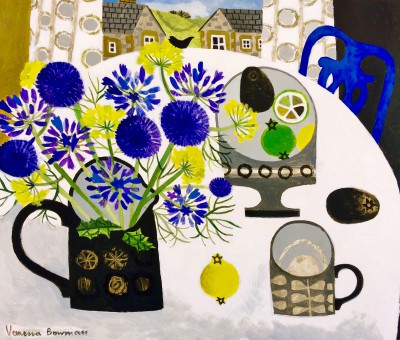 Modern Artist Vanessa BOWMAN - Agapanthus, Thistles and Blue Chair