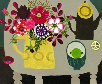 Vanessa BOWMAN, contemporary artist - Dahlias, Yellow Jug and Lime