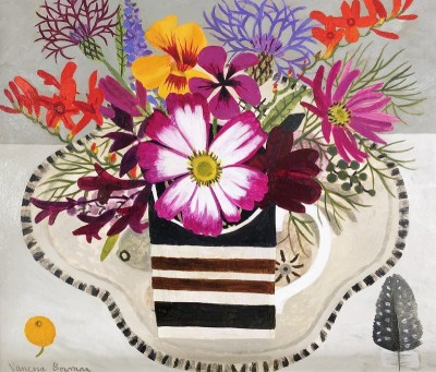 Modern Artist Vanessa BOWMAN - Summer Flowers in Striped Cup