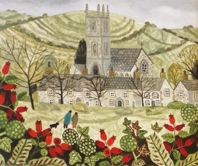 Cattistock and Rosehips painting by artist Vanessa BOWMAN
