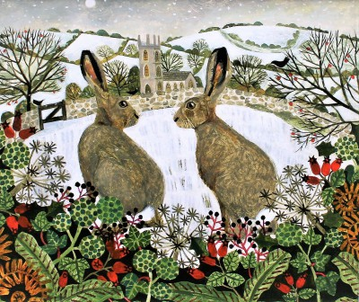 Modern Artist Vanessa BOWMAN - Hares and Moonlit Snow