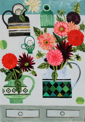 Modern Artist Vanessa BOWMAN - Dahlias on the Table