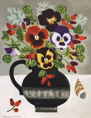 Modern Artist Vanessa BOWMAN - Pansies and Rosehips